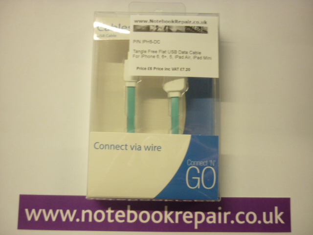 USB Cable In Blue For iPhone 5, 6, 6+, iPad Air And iPad Mini